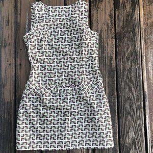 Vtg Mod Gogo Geometric Shift Mini Dress Green